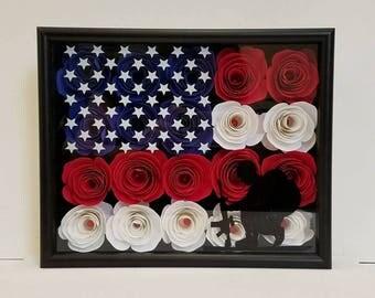 USA Shadow box Hand rolled Flowers 8x10