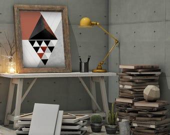 Mid-Century Modern geometric triangle abstract textured art print