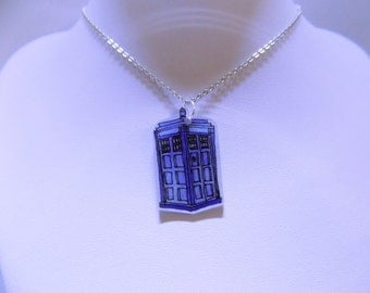 Hand Drawn Tardis Doctor Who Necklace