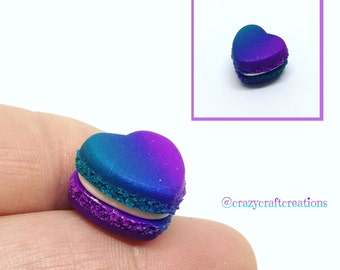 Ombre Heart Miniature French Macaron Clay Charm!
