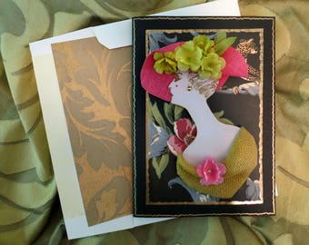 3D couture card,3D hat card, luxury  lady card, 3D fashionista card,elegant lady card,3D vintage lady card,fancy hat card,Erte  fashion card