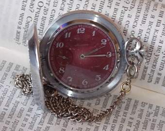 Soviet pocket watch. Red dial. Vintage mechanical pocket watch USSR. MOLNIJA.