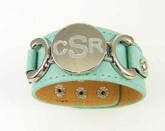 Personalized Womens Leather Bracelet, Engraved Aqua Leather Bracelet, Aqua Silver Cuff, Monogram Leather Bracelet, Extra Small Medium