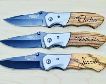 Folding Knives, Custom Knives, Engraved Knives, Personalized Knives, Gifts for Him, Groomsmen Gifts, Engraved Wood, Best Man Gifts, Wood