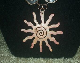 0199-Sunburst Copper Necklace (Copper chain and sunburst}