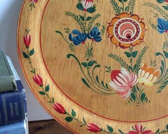 Vintage Scandinavian rosemaled painted wooden plate