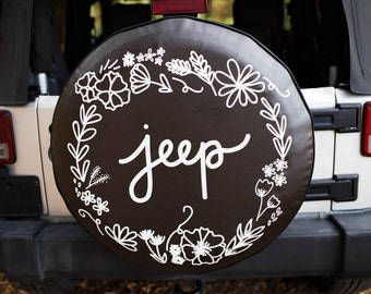 Floral Jeep Tire Cover With Floral Design, Wildflower Design, Jeep Accessory, Handwritten Design, Unique Tire Cover, Special Gift