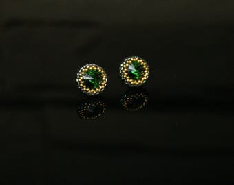 Small earrings with SWAROVSKI Crystals Dark Moss Green