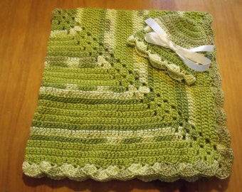 "NEW Handmade Crochet 29"" Baby Blanket and Hat/Beanie Set - Lime Green Variegated - A Wonderful Baby Shower Gift!! - SEE NOTE!"