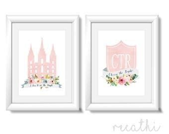 Set of 2 print, CTR choose the right, lds Temple, Instant Download Digital Printable LDS Gift Art print Girls room decor, pink flowers