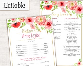 Baptism Program, Editable PDF, Printable Digital Handout girl Baptism, flowers, gold, coral, Baptism template
