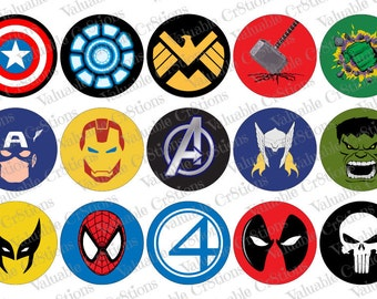 "Comic Bottlecap Images, 1"" Circle Images, 4x6 Collage Sheet, Avengers Images, Digital Collage Sheet, Cupcake Toppers Thor"
