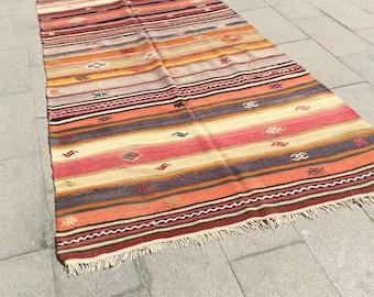 Vintage turkish cicim kilim rug rare vintage kilim rug - 9 x 4 ft
