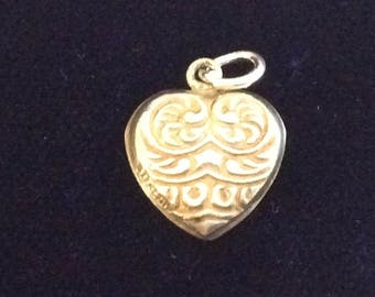 Sterling silver puffy heart charm vintage #1031