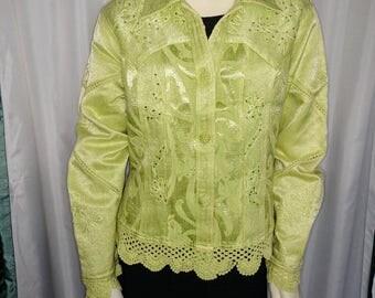 50% OFF Spring Jacket/Embroidered Jacket/Size L Spring Jacket/Pastel Cotton Jacket/Vintage Green Jacket/Multifabric Jacket/Nr.282