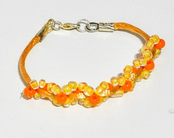 Silk threads and Crystal beads bracelet