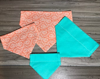 Coral Flower and Teal Dog/Cat/Pet Bandana. Add Personalization!