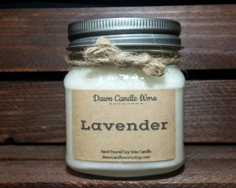 Lavender Aromatherapy Candle - Scented Candle - 8oz Soy Candle - Mason Jar Candles - Gift for Mom - Birthday Present - Spa Candle