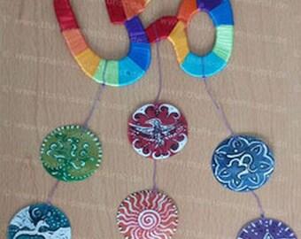 Ohm Namaste wind chimes made of Capiz shells, mobile,