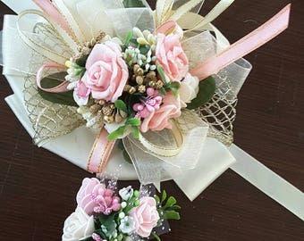Pink Prom set, Pink Corsage set, Pink wedding.