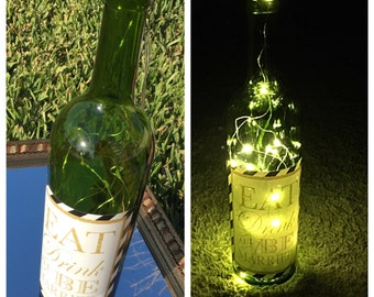 Wine Bottle Light/ Battery Operated/ Wedding Decoration/ Engagement Party/ Wine Bottle Lamp/ Wine Bottle Wedding/ Eat Drink and Be Married