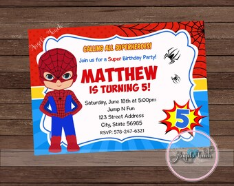 Superhero Spiderman Party Invitation, Spiderman Invitation, Spiderman Boy Birthday Invitation, Superhero Boy Invitation, Digital File