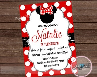Minnie Mouse Party Invitation, Minnie Mouse Red and Black Invitation, Minnie Mouse Invitation, Minnie Mouse Birthday Red, Digital File