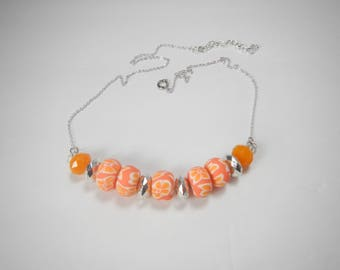 Orange Tropical Flower Baubles Necklace, Orange and Silver Jewelry, Silver Chain and baubles, Polymer Clay Beads, Floral Jewelry, for Women