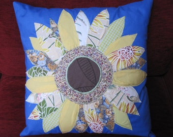 Free motion applique sunflower cushion