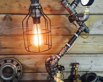 Steampunk Industrial Pipe Lamp