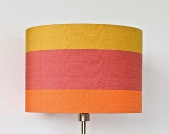 SALE 40% cut, Lampshade red orange yellow gold mustard, stripes striped stripe pattern, colorful decorative exclusive lamp modern abstract