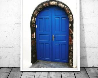 Door Photography, Santorini Doors print, blue door wall art Blue traditional Greek door wall art, nautical wall decor, digital download