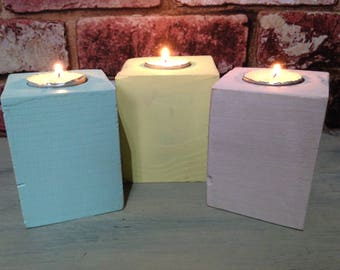 set of 3 candle/ tea light holders made from reclaimed wood