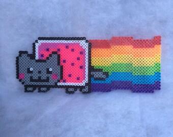 """Nyan Cat Poptart 4""""x9.5"""" Perler Bead Decor"""