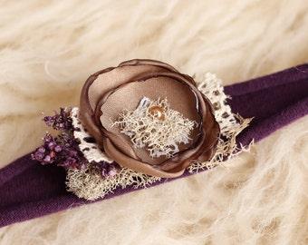 Purple Newborn Tieback - Plum Newborn Tieback - Purple Headband - Baby Tieback - Photo Props - Tieback Headband - Organic Tieback - RTS