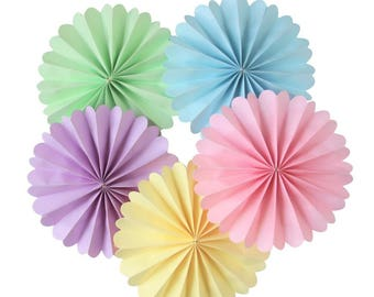 8 Inch Pastel Paper Rosettes Party Decorating Kit for Baby Shower Summer Wedding Pack of 5