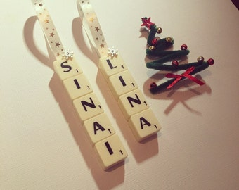 Set of 2 Personalised Scrabble Christmas Tree Decorations