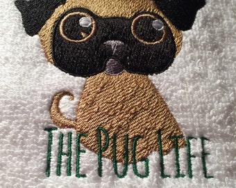 Embroiderd Pug Bath Towel **Ideal Gift**