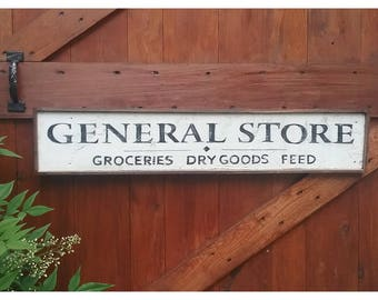 Country Farmhouse Style GENERAL STORE Wood Framed Sign