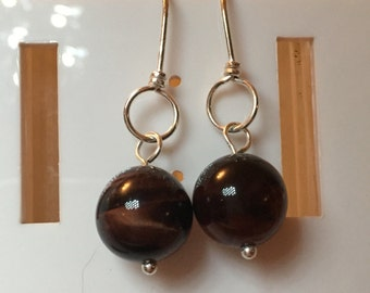 Silver plated copper earrings with yellow tigers eye rounds