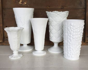 5 Vintage Milk Glass Vases, Instant Collection, Centerpiece, Wedding Decor, Cottage Style, Farmhouse Style, Rustic Decor, Home Decor, White