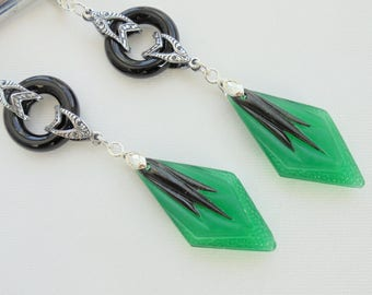 Art Deco  Black Onyx Gemstone Earrings Art Nouveau Bridal Gift
