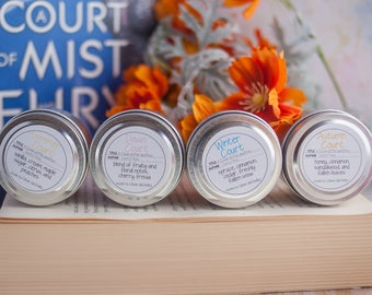 ACOMAF Court Candles Travel Tin Four Pack - Book Candle - Book Gift - Book Lover - Bookish - A Court of Mist and Fury