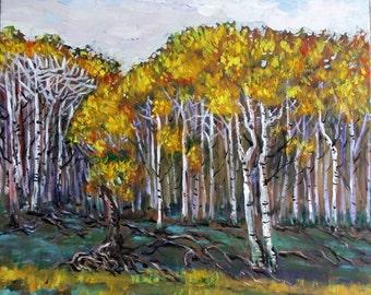 "Original Acrylic Painting, Beautiful Autumn Forest, 22""x22"", 1611031, landscape, acrylic"