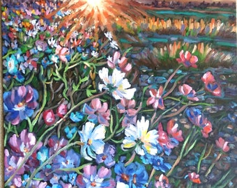 "Original oil painting on canvas panel, Wild Flower in Sunset- landscape, 24""x18"", 1705043"