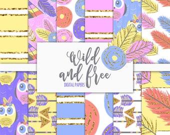 Wild and Free Digital Paper Pack | Scrapbook Paper | Printable Background | 12 JPG, 300dpi files.