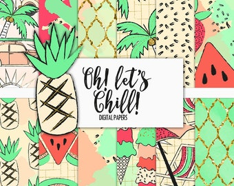 Oh! Let's Chill! Digital Paper Pack | Scrapbook Paper | Printable Background | 12 JPG, 300dpi files.