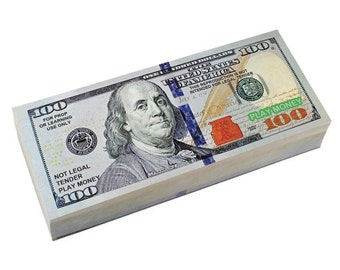 Six Pack SMALLER Size of Best Real Looking PLAY MONEY: Individual  Packs of 1's, 5's 10's, 20's, 50's, 100's (4.85 x 2.1 inches)