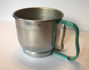 Vintage Flour Sifter - Foley Five Cup Sifter - Flour Sifter Turquoise - Vintage Kitchen Decor - Turquoise Kitchen - Kitchen Decoration