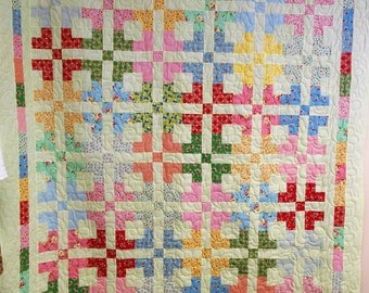 """Handmade Full Size Quilt, Remember When Quilt, 1930's and Mint Green Quilt, 74"""" x 83"""""""